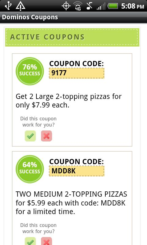Coupon code for dominos 2 large pizzas