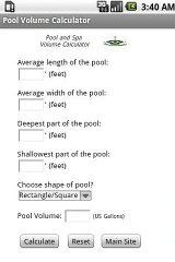 Pool and Spa Volume Calculator