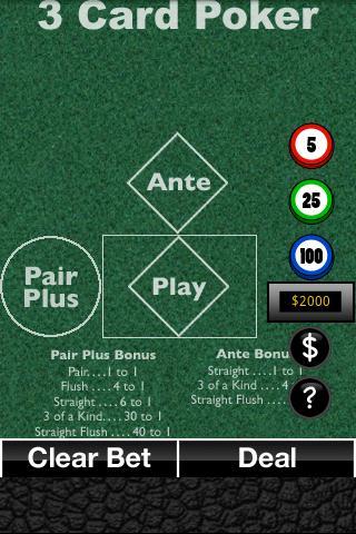 3 Card Poker five card draw poker