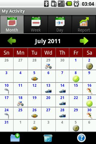 My Activity - a calendar of Your physical (sports) activities.Program