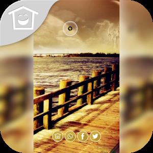 Yellow wooden coastal scenery