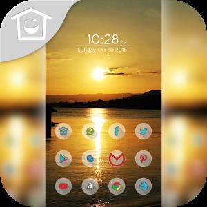 Warm sunset lake theme