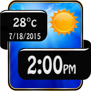 Black Weather Clock Widget
