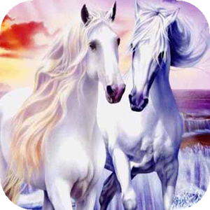 Two horses in the sea waves WP