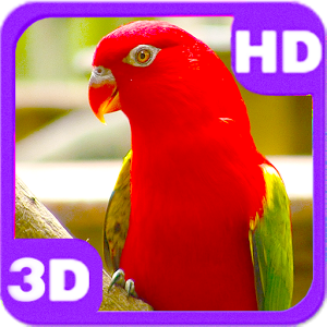 3D Cute Red Parrot on Branch