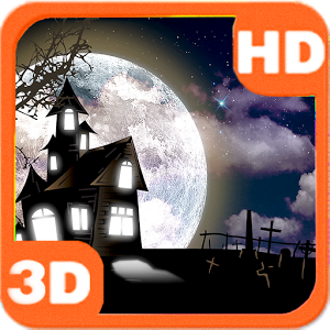 Haunted House Full Moon Bats