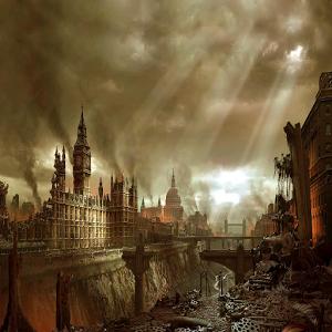 Rare Painting of London at War