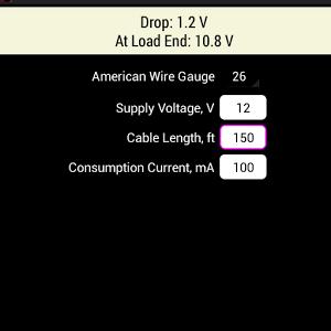 AWG Voltage Drop DC