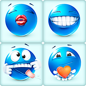 Blue Smiley Faces Emoticons WA text message smiley faces
