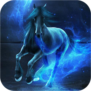 Horse in blue glow Live WP